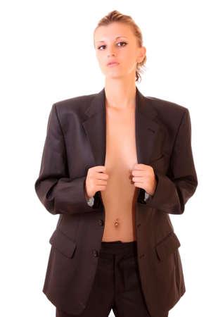 feministische: Mooi meisje in mannelijke pak en strop das over white