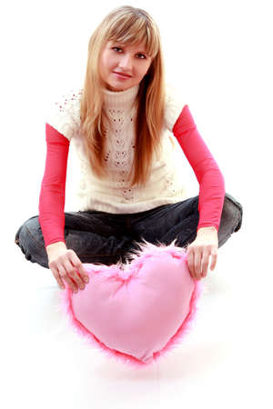 laughing beauty girl heart isolated photo