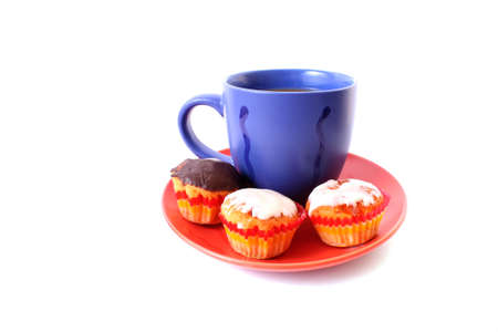 Coffee with milk color cup with cakes on white background photo