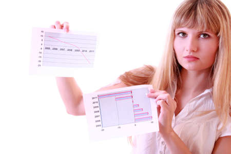 slump: Young smiling business woman showing  diagram