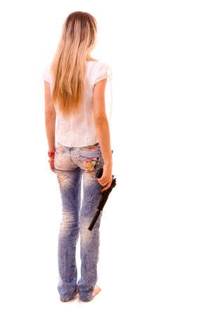 Sexy Woman Holding Gun over white Stock Photo - 6282213