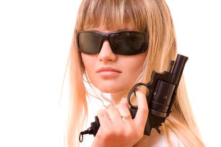 Sexy Woman Holding Gun over white photo