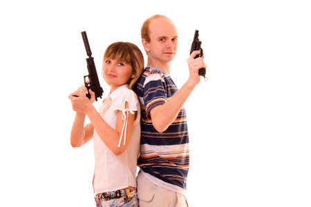 redneck: woman and man with guns over white