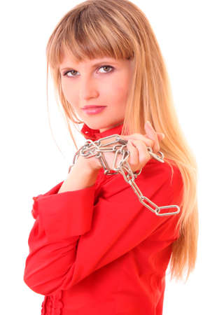 Young Beautiful Woman Portrait with chain  on white background Stock Photo - 6281937