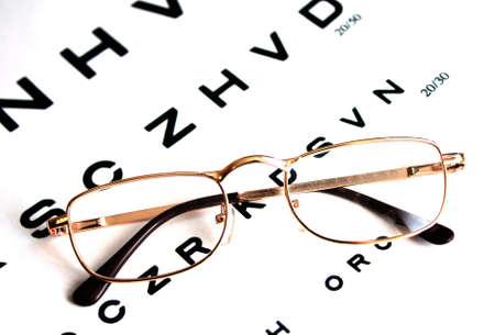 Glasses on test chart Stock Photo - 6281705