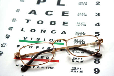 Glasses on test chart Stock Photo - 6310548