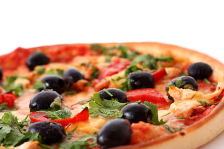tasty pizza with olives on white Stock Photo