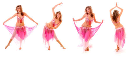dancing pose: Set of beautiful belly dancer isolated on a white background
