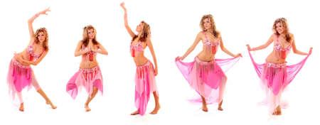danseuse orientale: Ensemble de belle danseuse du ventre isolé sur un fond blanc Banque d'images