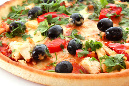 tasty Pizza with olives isolated on white photo