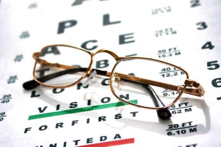 eye glass: Glasses on test chart