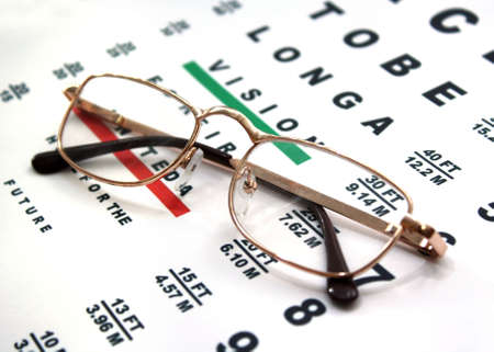 lose up: �lose up of glasses and chart