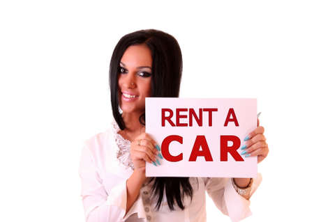 hire: Beautiful woman holding white paper with text: Rent a car