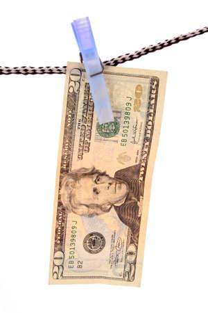 fraudulent: Dollar over white background