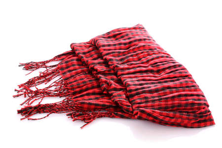 muffle: Scarf. A winter warm red scarf  over white