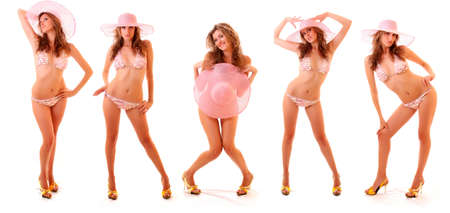 white lingerie: collage made with isolated sexy blonde model in pink bikini