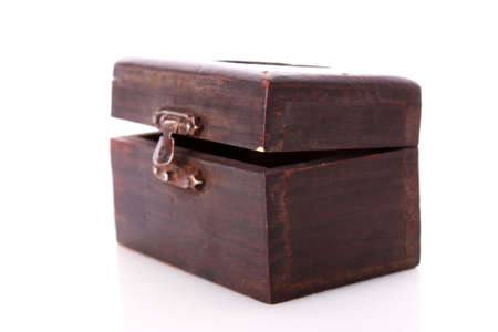 Old wooden box of treasure  isolated on white background photo