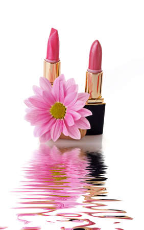 Two colored lipsticks on white background Stock Photo - 6524258