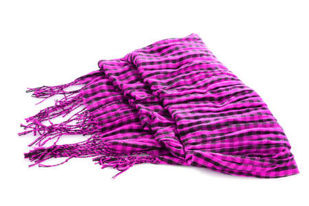 muffle: Scarf. A winter warm violet scarf  over white