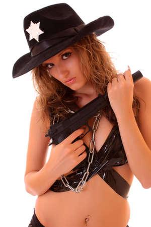 Beautiful sheriff woman on white background photo