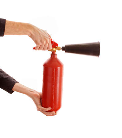 conflagration: Fire extinguisher isolated over white