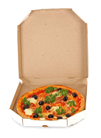 Whole pepperoni with olives pizza in box over white background photo