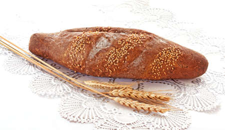 Fresh bread with ear of wheat Stock Photo - 6801446
