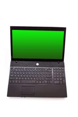 Black laptop isolated on white photo