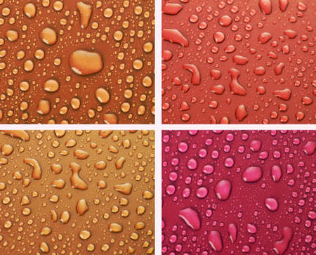 Four water drops background of  different colors photo