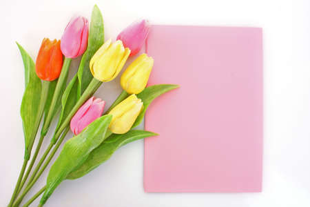 Bouquet of tulips and post card on white Stock Photo - 6801787