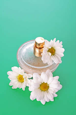 Bottle of perfume  and  camomile on blue background Stock Photo - 6882428