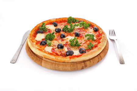 pepperoni: tasty Pizza with olives isolated on white