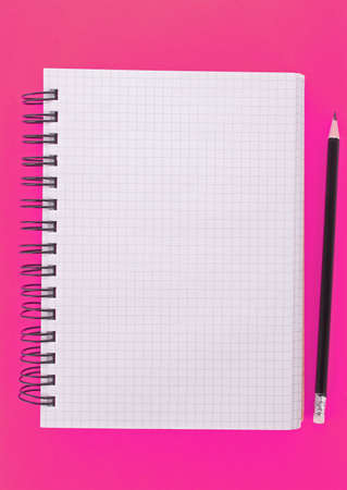 Notebook with pencil on the pink background Stock Photo - 6882951