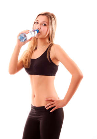 exercitation: pretty young girl with a bottle of water isolated on white Stock Photo