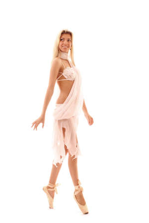 young and beautiful ballerina in white dress over white background photo