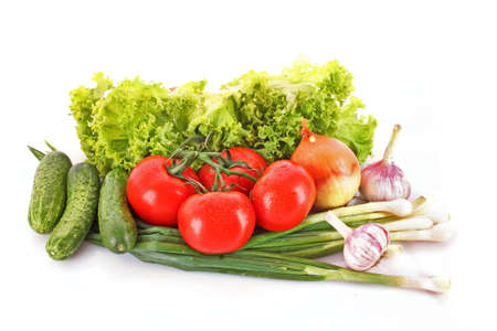 Fresh vegetables on white photo