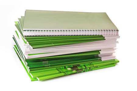 Many color magazines on white background photo