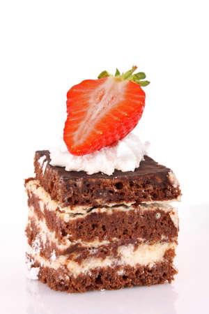 strawberry cake: chocolate cake with cream and strawberry on white