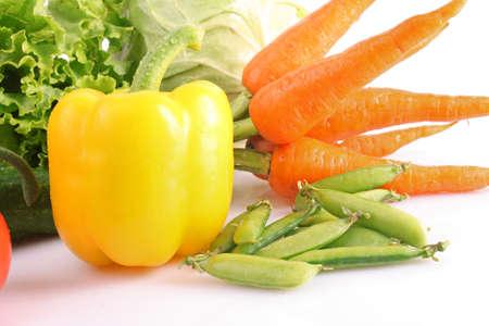 Fresh vegetables on white photo