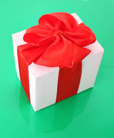gift box close up on green background photo