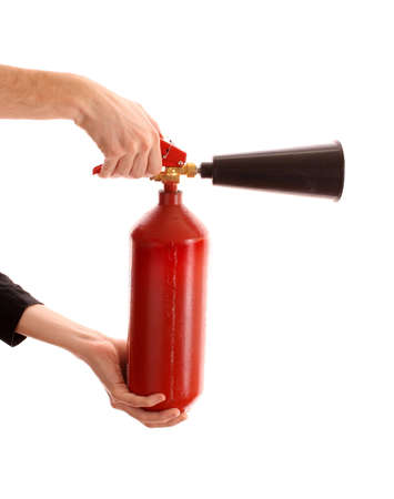 fire extinguisher: fire extinguisher  in the hands on white background Stock Photo