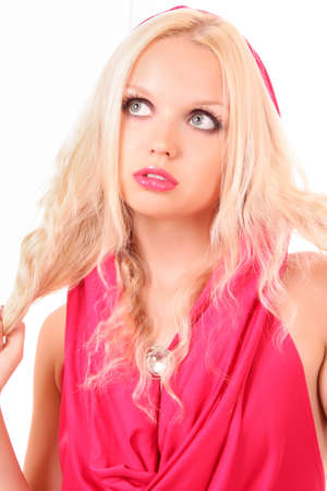 Beautiful blond girl in pink dress on white Stock Photo - 7468404