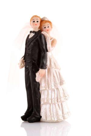 topper: wedding cake figurines on white Stock Photo