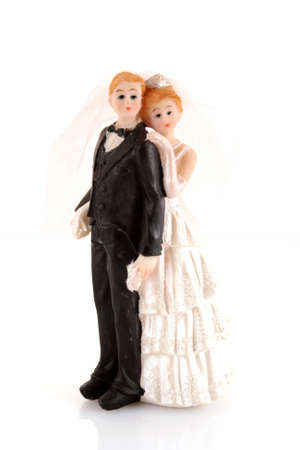 figurines: wedding cake figurines on white Stock Photo