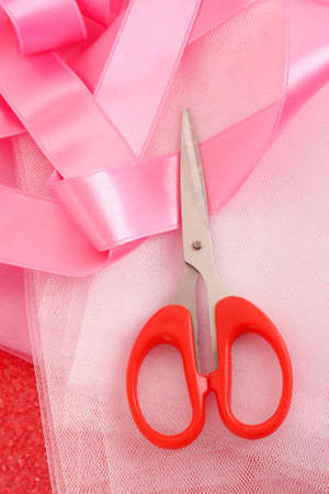 needle, threads, scissors, ribbons  and measuring tape Stock Photo - 7798911
