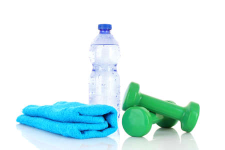 water sports: Blue bottle of water,  sports towel and exercise equipment isolated against a white background