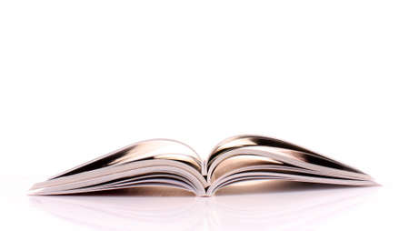 catalogue: Pile of open magazines isolated on white background Stock Photo