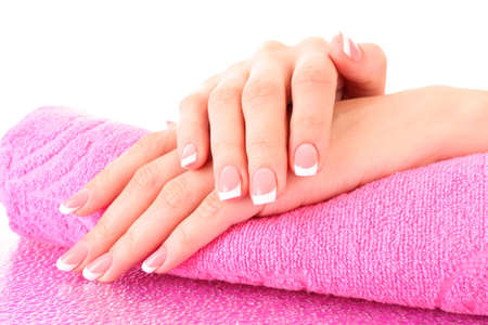 Beautiful woman hands with french manicure on pink background Stock Photo - 8081540