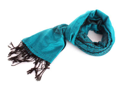 silk scarf: Blue female scarf isolated on white background