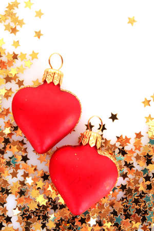 Golden stars in the form of confetti  and  christmas toys Stock Photo - 8167412